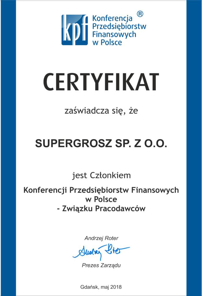 Certyfikat KPF Supergrosz